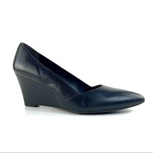 Black Leather Franco Sarto Pointy Toe Wedge